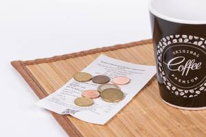 Coffee and receipt for payment