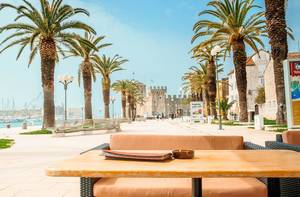 Coffee and restaurant terraces in Trogir