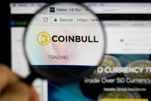 Coinbull logo on a computer screen with a magnifying glass