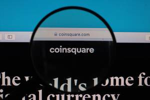 Coinsquare logo under magnifying glass