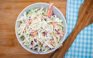 Coleslaw in a white Bowl Top View