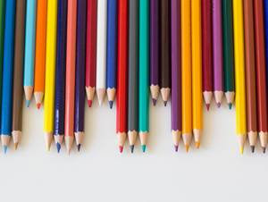 Color pencils in line
