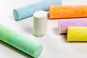 Colored crayons for drawing on outdoor