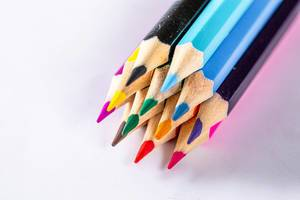 Colored drawing pencils in a variety of colors