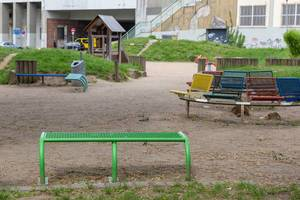 Colorful benches at a playground