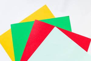 Colorful cardboards , Top view