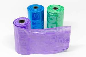 Colorful dog waste bags