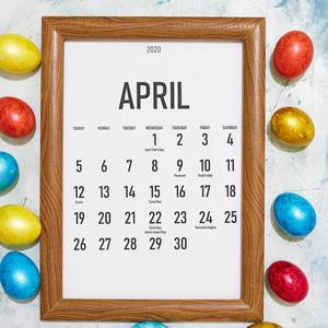 Colorful Easter eggs and April monthly calendar