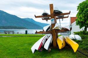 Colorful kayaks on a kayak stand.jpg