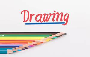 Colorful pencils on white background with text Drawing
