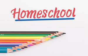 Colorful pencils on white background with text Homeschool