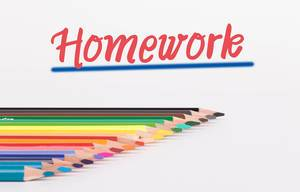 Colorful pencils on white background with text Homework