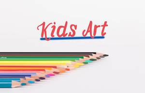 Colorful pencils on white background with text Kids Art
