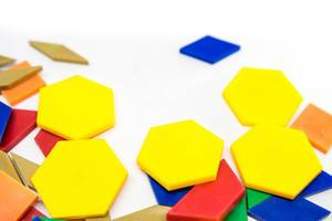 Colorful plastic geometric shapes