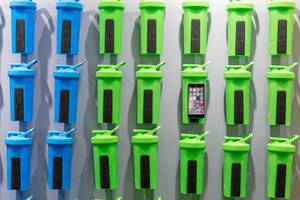 Colorful plastic water bottles by Shaker