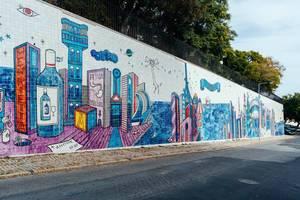 Colorful tile street art in Lisbon