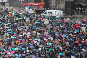 Colorful umbrellas at Fridays For Future Cologne