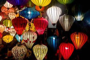 Coloured and patterned lanterns in Hoi An, Vietnam