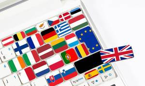 Computer keyboard with internationl flags