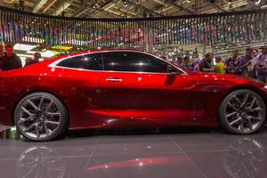 Concept Car: glossy red paint and side view of the BMW Concept 4 (2019)