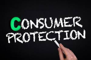 Consumer protection text on blackboard