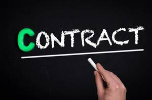 Contract text on blackboard