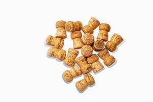 Corks from Champagne on white background (Flip 2019)