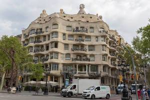 Corner building with conspicuous balcony design Casa Milà (La Pedrera) by Antoni Gaudi in Barcelona, Spain is declared as Unesco World Heritage