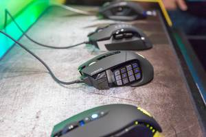Corsair gaming mice with RGB lighting. M65, Scimitar, Glaive, Dark Core