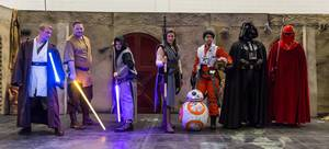 Cosplayers dressed as characters from the Star Wars universe