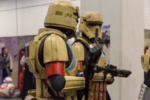 Cosplayers dressed as Star Wars troopers