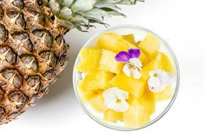 Cottage cheese with fresh pineapple, Chia seeds and edible flowers (Flip 2020)
