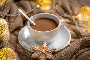 Cozy christmas season with coffee and cookies