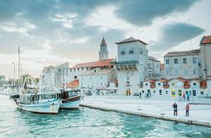 Cruise boats dock in Trogir town in Croatia