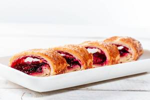 Cut pieces of cherry strudel