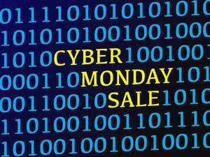 Cyber monday sale text between blue binary data on screen