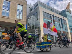 Cyclists take part in the global environmental movement Critical Mass in Cologne, Germany