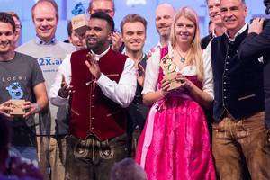 Dan Ram und die Gewinner des Start Up Pitch Bits & Pretzels 2018