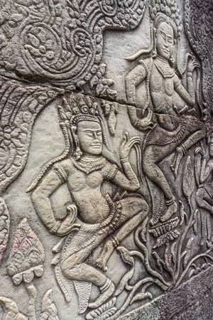 Dancing Apsaras Engraving at Bayon Temple in Siem Reap