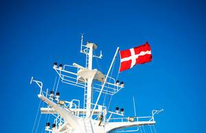 Danish flag waving on a ferry (Flip 2019)