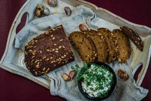 Dark Bread With Seeds And Cream