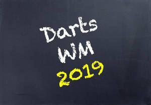 Darts WM 2019 written on blackboard