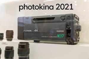 "Das 4K-Broadcast-Objektiv Fujinon von Fujifilm in 4k UHD, neben dem Bildtitel ""photokina 2021"""