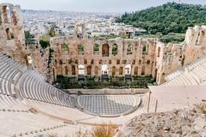 Das antike Odeon-Theater des Herodes Atticus, mit Blick über Athen