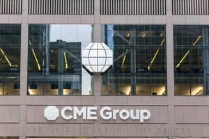 Das CME Group (Chicago Mercantile Exchange Center) Gebäude in Chicago