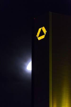 Das Commerzbank-Logo auf dem Commerzbank-Tower