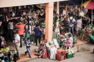 Das tägliche Leben auf einem Markt