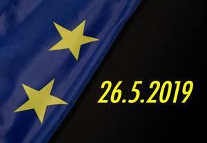 Datum der Europawahl mit der Flagge der Europäischen Union