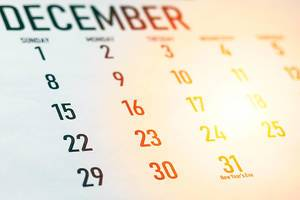 December 2019 calendar. New Year