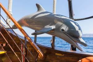 Dekostück Delphin auf einem griechischen Ausflugsschiff